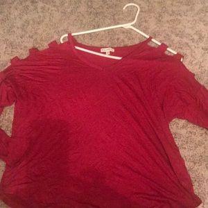 Cold shoulder top dolman sleeves. Red/burgundy